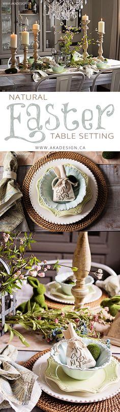 Natural Easter Table Setting - http://akadesign.ca/natural-easter-table-setting/