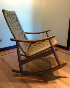 Mid Century Danish Modern Woven Rope Rocking Chair Wegner Style Rocker | eBay