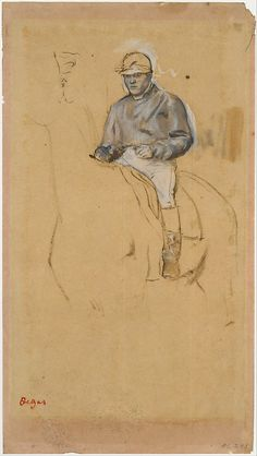 A Jockey on His Horse Artist: Edgar Degas (French, Paris 1834–1917 Paris) Date: ca. 1868–1870 Medium: Oil and graphite on faded pink paper Dimensions: Sheet: 12 7/8 x 7 3/16 in. (32.7 x 18.3cm) Classification: Drawings