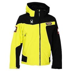 400a0ba03b7cf  Spyder que tripoint ski jacket mens  yellow black skiwear  snowboarding  coat