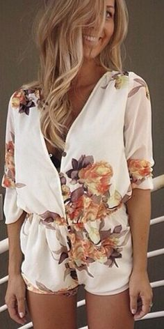Fashion V-neck Long Sleeve Print Jumpsuits