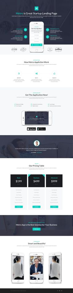 Metro App : is new #Instapage #template made for Landing Page and Applications use. It also can be used for multi purpose. PSD files #design needed elements are included.