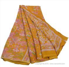 VINTAGE INDIAN SAREE PRINTED FABRIC PURE SILK SARI FLORAL CRAFT 5 YARD SAFFRON