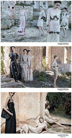 Spring 2012 Valentino. Models: Maud Welzen, Zuzanna Bijoch, Bette Franke, and Fei Fei Sun. Photographer: Deborah Turbeville