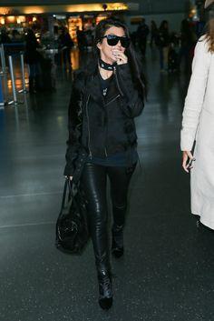 Kourtney Kardashian is seen at LAX and JFK airports
