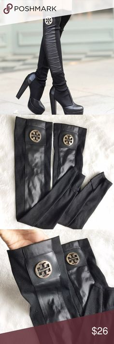 """The Tory leg warmers Brand new! FASHION LEG WARMESR💕 brand new💕 black and gold logo. 19"""" long. ⚡️LISTED AS TORY BURCH FOR EXPOSURE ONLY⚡️ Tory Burch Accessories Hosiery & Socks"""