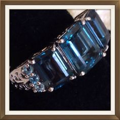 6.20 CTs London Blue Topaz, Elec. Blue Topaz NEW Genuine London Blue Topaz, three Octogon cut stones, accented with Electric Blue Topaz. Ring in Platinum Overlay .925 Sterling Silver Nickel Free (Size 8) TGW 6.20 Cts. This is stunning. It can take almost 5 years to obtain a perfect London Blue Topaz. Jewelry