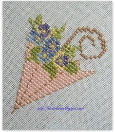 point de croix parapluie romantique - cross stitch romantic umbrella