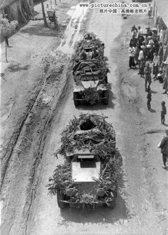 [Photo] Troops of the Chinese Division in a SdKfz. 221 armored car column, date unknown Military Photos, Military Art, Military History, Mg 34, Armored Vehicles, Armored Car, Chinese Armor, Rare Historical Photos, Ww2 Tanks