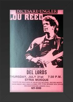 HIGH QUALITY WOOD FRAMED Reed, Lou with Del Lords 11x17 Concert Poster
