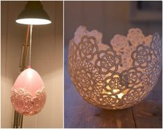 10 Ideas for Decorating with Doilies - Easy DIY Doily Candle Holder Project Using Balloon & Glue - mazelmoments.com