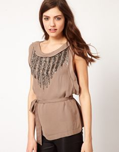 French Connection Embellished Crepe Top