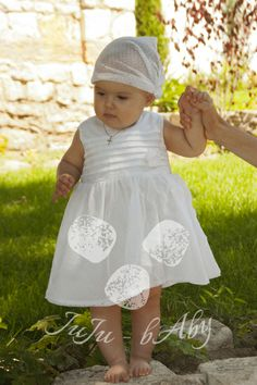 Christening dress with a hair band