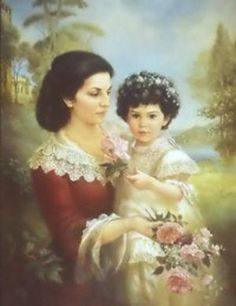 by Brenda Burke. Painted Cottage, English Artists, Impressionist Art, International Artist, Mother And Child, Belle Epoque, Beautiful Artwork, Vintage Art, Flower Girl Dresses