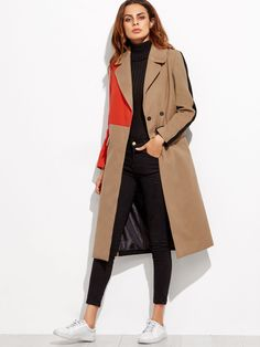 To find out about the Colorblock Double Breasted Coat at SHEIN, part of our latest Outerwear ready to shop online today! Denim Jacke, Mode Mantel, Lingerie Fine, Langer Mantel, Outerwear Women, Outerwear Jackets, Camel Coat, Double Breasted Coat, Coat Dress