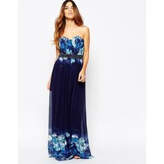 Little Mistress Maxi Dress In Ombre Floral With Embellished Waist ($135) ❤ liked on Polyvore featuring dresses, navy, navy blue dress, floral dress, ruched maxi dress, tall maxi dresses and floral print maxi dress