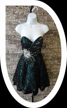 Teal Rhinestone Accented Dress with Black Bow Embellishments