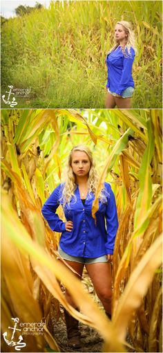 Emerald Anchor Photography Senior Portraits in a field.  senior pictures in a corn field.