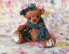 Hallie festive mohair artist collectible teddy bear, steiff schulte pose able bear