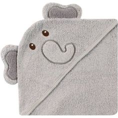 Luvable Friends Baby Boy or Girl Unisex Hooded Bath Embroidered Towel, Elephant, Gray
