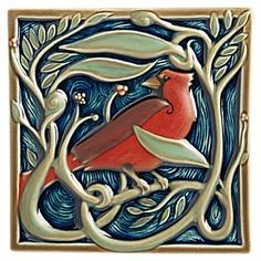 Rookwood Pottery Framed Songbird Tile Set - National Geographic Store