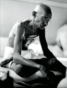 Mohandas Gandhi, leader of India's great movement for liberty, is shown in an undated photo one hour after his release from the British government prison in Poona, India. Gandhi does not like being photographed, and never looks at the camera. Mahatma Gandhi, We Are The World, Change The World, Inspirer Les Gens, Thomas Alva Edison, India Independence, Civil Disobedience, Meditation, Famous Faces