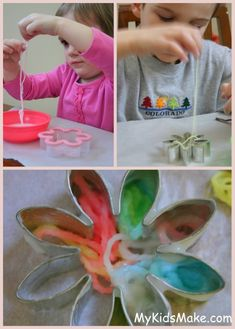string flowers-yarn and glue colored with liquid water color paint.  have children put yarn in colored glue then use fingers take off extra.  Place glue yarn inside a cookie cutter until full then take off cookie cutter and let dry over night or on parchment paper in a warm oven for about 1 hour.