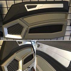 Demo display door panel built by hand. Custom Car Interior, Car Interior Design, Truck Interior, Interior Door, Automotive Upholstery, Car Upholstery, Custom Car Audio, Custom Cars, Chevy For Sale