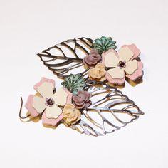 Earrings Leather and Brass Flower Dangles. $20.00, via Etsy.