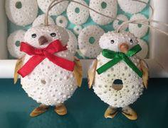 Penguin Christmas ornaments, sea urchin shell ornaments, beach ornament