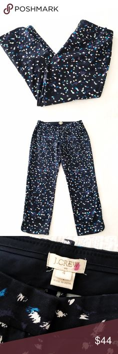 """j.crew printed cropped tencel pant Tencel/cotton blend, sits just above the hip, fitted through the hip & thigh with a skinny, cropped leg, 26"""" inseam, slant pockets, back welt pockets, dolphin hem at ankle side seam, dry clean. No flaws to note, in gently worn condition. J. Crew Pants Ankle & Cropped"""