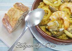 Arroz Caldoso Con Berberechos, Calamar Y Gambas Spanish Food, Omelette, Churros, Flan, Mexican Food Recipes, French Toast, Cooking Recipes, Pasta, Breakfast