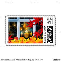 Autumn Hanukkah / Chanukah Postage Stamps with Autumn Leaves and Menorah Candles. Matching card, postage stamps and other products available in the Jewish Holidays of the artofmairin store at zazzle.com