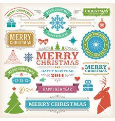 Christmas decoration design elements vector - by ProVectors on VectorStock®