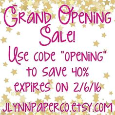 """Grand Opening of my etsy shop! Save 40% with coupon code """"opening"""" until 2/6/16. Lots of new designs being added in the coming week! JLynnPaperCo.etsy.com #stickers #plannerstickers #planner #erincondren #erincondrenlifeplanner #eclp #jlynnpaperco #etsy #planneraddict #plannerlove #plannerjunkie #valentines #valentinesday #sale #grandopening #grandopeningsale #etsysale"""
