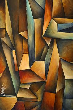 Cubism Painting - madness by Michael Lang Action Painting, Futurism Art, Cubist Art, Arte Pop, Abstract Photography, Abstract Canvas, Geometric Art, Landscape Art, Pop Art