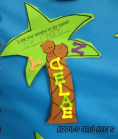 Chicka Chicka Boom Boom craft with foam letter stickers