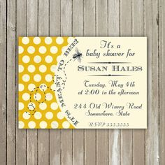 It's Meant to Bee Baby Shower - Printable - Invitation. $10.00, via Etsy.