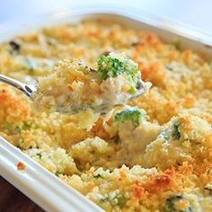 A homemade recipe for chicken, broccoli and rice casserole made completely from scratch with a cheesy cream sauce and topped with buttered breadcrumbs.