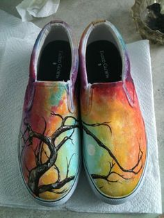 Painted Shoes by asmith23 on Etsy, $70.00