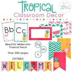 Tropical Classroom Decor | Fully EditableBring a little color and flair into your classroom!  This set comes with so many different colors, styles, and clipart for you to customize your classroom ( over 200 pages! ).  Created to allow you to mix and match your favorite colors to bring a little island breeze into your room.