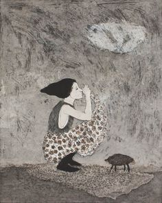 Kirsi Neuvonen - Kapylehma (Cone Cow) Etching on Paper, Prints Artist Portfolio, Contemporary Artists, Printmaking, Cow, Sculptures, Artwork, Prints, Photography, Painting