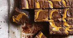 Better-for-you gluten-free brownies with big swirls of peanut butter.