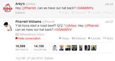 Arby's Grammy Tweet and social media advise