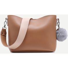 SheIn(sheinside) Khaki and White PU Pom Pom Two Pieces Shoulder Bag... (1.560 RUB) ❤ liked on Polyvore featuring bags, handbags, shoulder bags, khaki handbag, white shoulder bag, pu handbag, polyurethane handbags and shoulder handbags