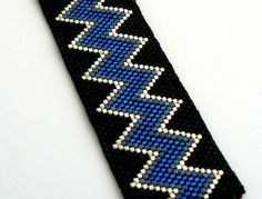Blue and Black Beadwork Bracelet Chevron by BrownIrisCreations