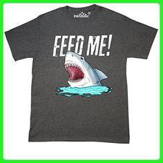 Inktastic - Feed Me with Shark Head T-Shirt X-Large Retro Heather Black - Retro shirts (*Amazon Partner-Link)