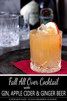 Sensational Sips This Fall All Over Cocktail from Hendrick's Gin is fantastic. Combining gin, lemon juice, ginger beer and apple cider in an ice cold beverage garnished with nutmeg. Tis the Fall Season! via Creative Culinary Cider Cocktails, Fall Cocktails, Winter Drinks, Classic Cocktails, Beer Cocktail Recipes, Cocktail Drinks, Alcoholic Drinks, Fall Drinks Alcohol, Beverages