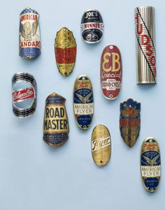 Head Badges: Head badges, or nameplates, made of brass are popular collectibles. These beveled badges, affixed with screws to a bike's front, range from $10 to $500.