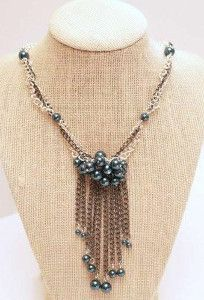Pearl and Chain Fringe Necklace | AllFreeJewelryMaking.com